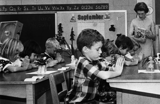 A 1966 photo of first graders praying in a South Carolina public school